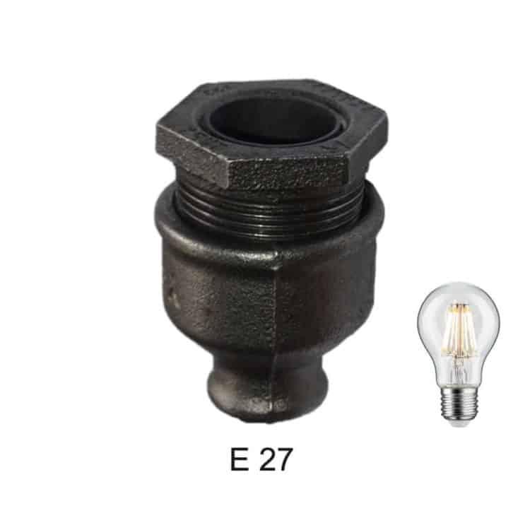 Douille style industriel E27 raccord plomberie fonte